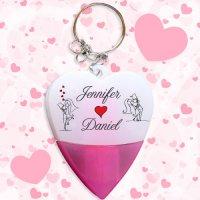 Heart Shaped Wedding Favors Mini Highlighter Pen Keychains w/ Holder