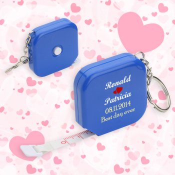 Personalized Wedding Square Tape Measure Keychains - Blue