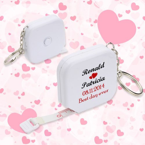 Personalized Wedding Square Tape Measure Keychains - White