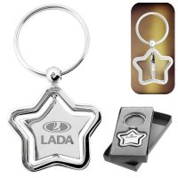 Custom Printed Silver Stella Spinner Star Metal Keychains