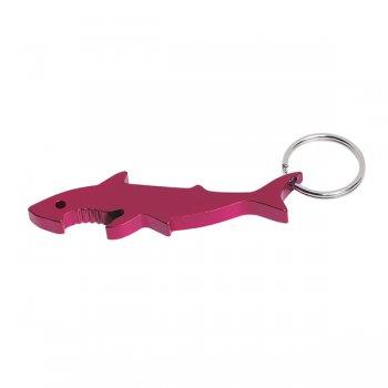 Customized Shark Bottle Opener Keychain Rings - Red