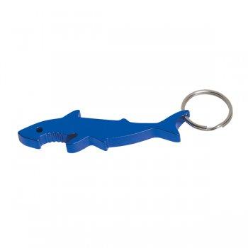 Personalized Shark Bottle Opener Keychain Rings - Blue