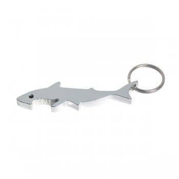 Promotional Shark Bottle Opener Keychain Rings - Silver