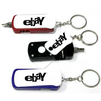 Custom Screwdriver Tool Set With LED Flashlight Automobile Keychains
