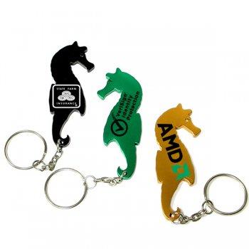 Custom Seahorse Shape Bottle Opener Animal Keychains