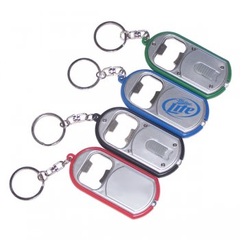 Custom Ultra Thin Flashlight With Metal Bottle Opener Keychains