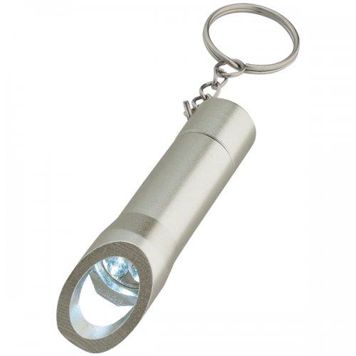 Aluminum Promotional LED Keychain Light with Bottle Opener - Silver