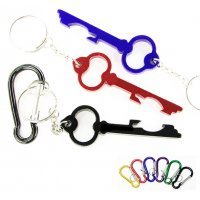 Personalized Key Shape Bottle Opener With Carabiner Keychains