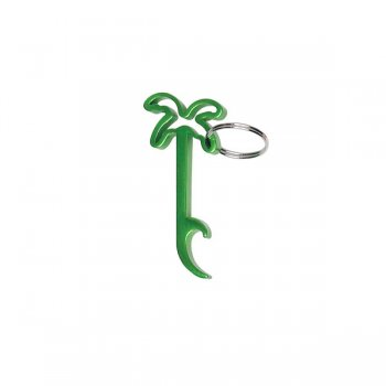 Personalized Palm Tree Bottle Opener Keychains - Green
