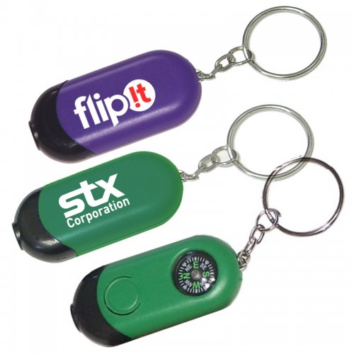 Promotional Mini Rectangular Flashlight With Compass Keychains