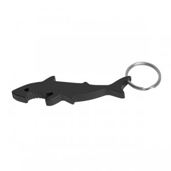 Promotional Shark Bottle Opener Keychain Rings- Black