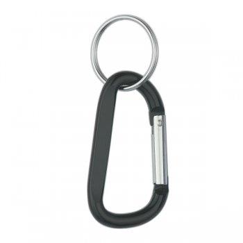 6mm Custom Carabiner keychains With Split Ring - Black