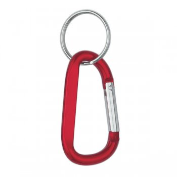 8mm Custom Carabiner keychain With Split Ring - Red
