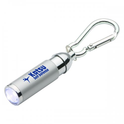 Customized Carabiner Clip LED Light Keychains - Silver