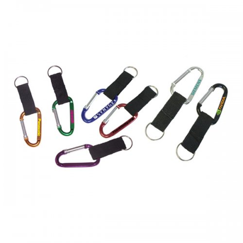 7cm Customized Carabiner With Nylon Strap & Split Keychain Rings