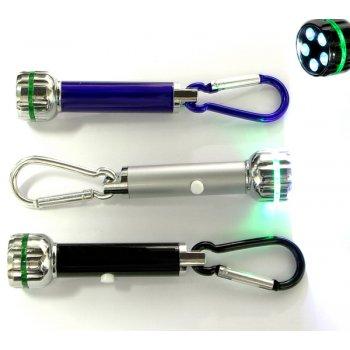 Customized Jumbo Size LED Flashlight With Carabiner Keychains