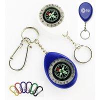 Customized Oval Shape Compass & Carabiner Swivel Keychains