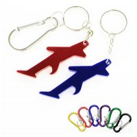Personalized  Plane / Aircraft Shape Bottle Opener & Carabiner Keychains
