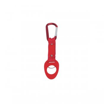 6mm Promotional Carabiner keychains with Bottle Holder - Red