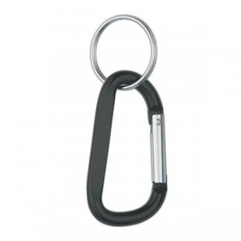 6mm Custom Carabiner keychain With Split Ring - Black