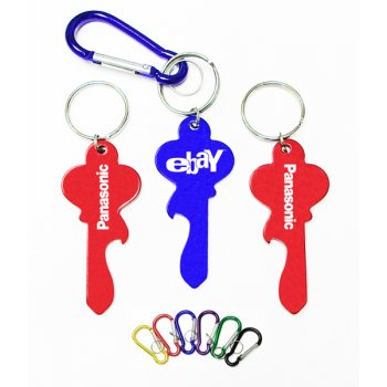 Promotional Key Shape Bottle Opener And Carabiner With Keychain Rings
