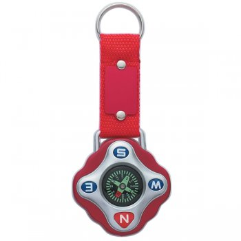 Customized Compass Keychain Rings - Red