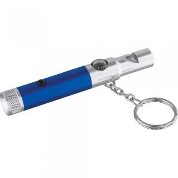 Customized Whistle Light with Compass Keychains - Blue