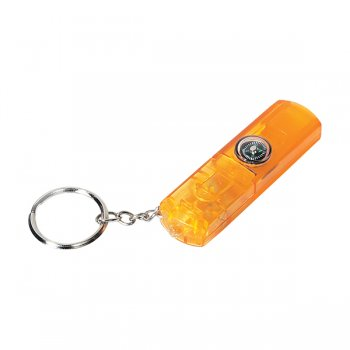 Promotional Whistle, Light and Compass Keychains- Orange