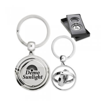 Personalized Round Triple Spinner Rosarno Metal Keychains