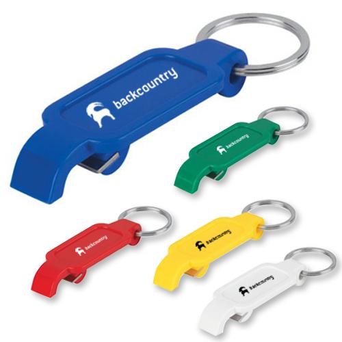 Custom Keychains With Slim Bottle Opener - Black