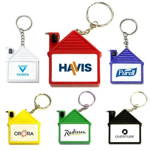 Custom House Shape Tape Measure Keychain