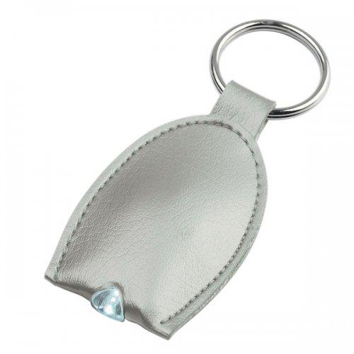 Custom Leather Look LED Key Tag Silver