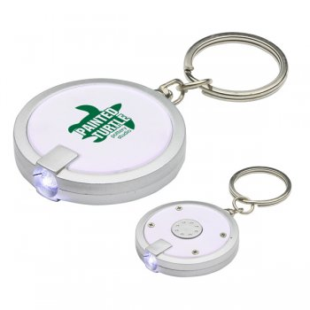 Custom Round Simple Touch LED Keychains - White