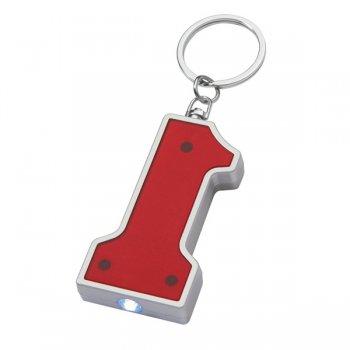 Customized #1 Shape LED Keychains - Red