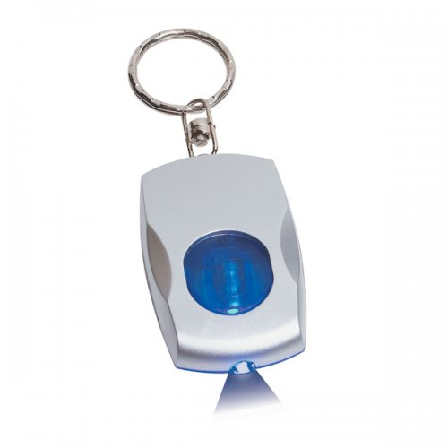 Customized Color Light Keychains - Silver/ Blue