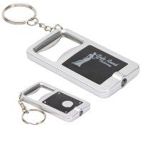 Customized LED Keylight Bottle Opener Keychains - Silver/ Black