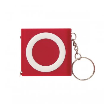 Customized Revolution Tape Measure Keychains - Red