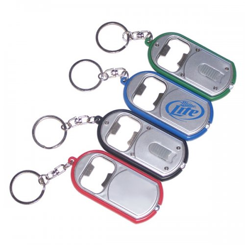 Customized Ultra Thin Flashlight With Metal Bottle Opener Keychain Rings