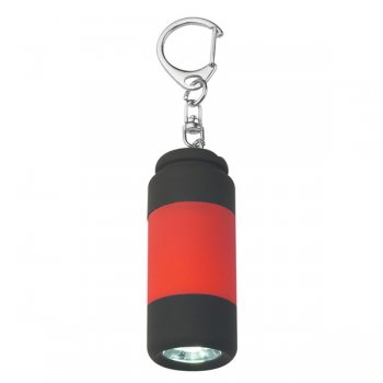 Custom  Rubberized LED Light Keychains - Red