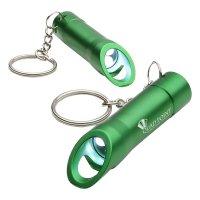 Promotional Aluminum LED Opener Keychains - Green