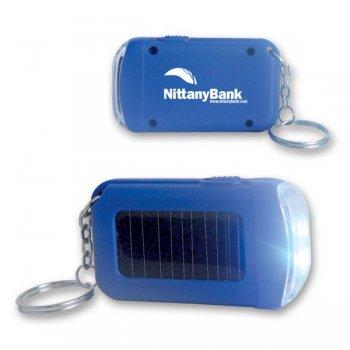 Promotional Blue Solar LED Flashlight Keychains