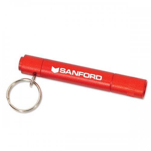 Promotional Metallic Flashlight Keychains - Red
