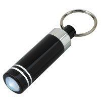 Personalized Mini Aluminum Keychain Rings With LED Light  - Black