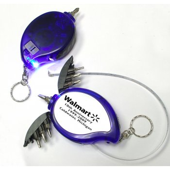 Promotional Mini Tool Kit With LED & Tape Measure Keychains