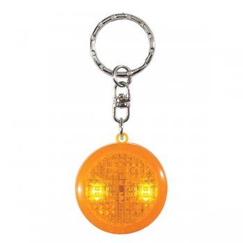 Promotional Round Soft Touch Led Keychains - Orange