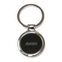 Custom Imprinted Round Shape Chrome Metal Key Holder