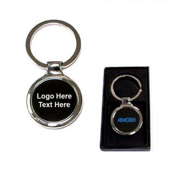 Custom Printed Chrome Metal Split Ring Key Holder with Gift Case