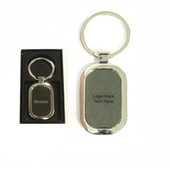 Custom Printed Oval Shape Chrome Metal Key Holder with Gift Case