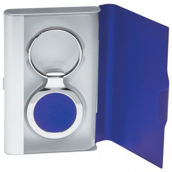 Customized 2 In 1 Keychains/Business Card Holder - Blue