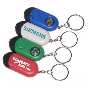 Customized Mini Rectangular Flashlight With Compass Keychains Holder